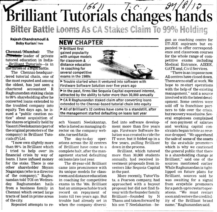 Brilliant Tutorials Changes hands (Brilliant Tutorials Private Limited Head Office)