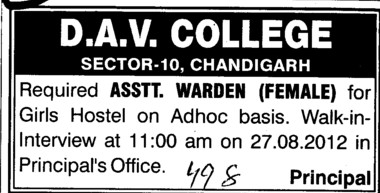 Female Asstt Warden (DAV College Sector 10)