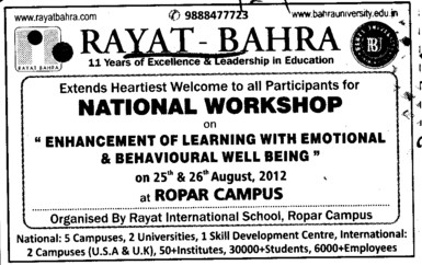 National Workshop on Behavioural Well Being etc (Rayat and Bahra Group)