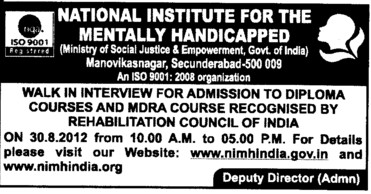 MDRA Course (National Institute for the Mentally Handicapped (NIMH))