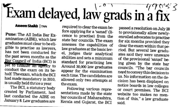 Exam delayed, Law grads in a fix (Bar Council of India (BCI))