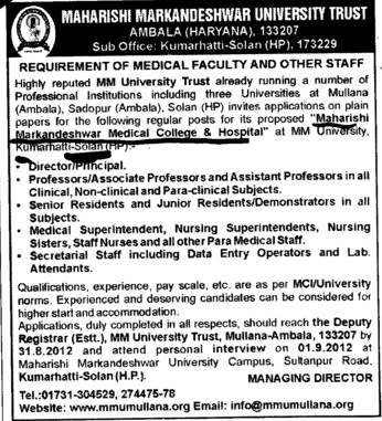 Medical Superintendent and Senior Residents etc (MM Medical College Kumarhatti)