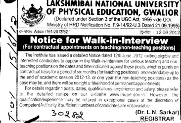 Guest Faculty on Contractual basis (Lakshmibai National University of Physical Education (LNUPE))
