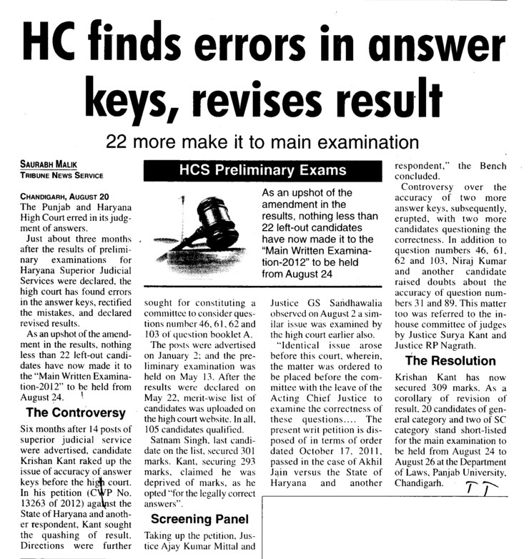 HC finds errors in answer keys, revises result (Bar Council of Punjab and Haryana)