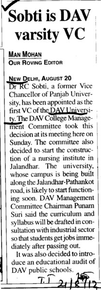 Sobti is DAV Varsity VC (DAV University)