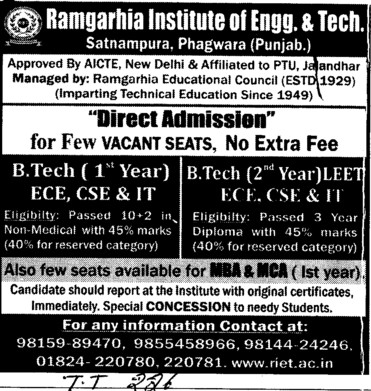 BTech in various streams (Ramgarhia Institute of Engineering and Technology RIET)