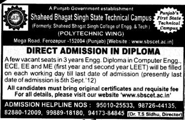 Three years Diploma Course in BTech (Shaheed Bhagat Singh State (SBBS) Technical Campus)
