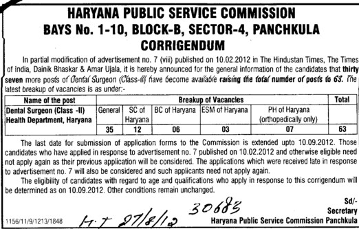 Regarding post of Dental Surgeon (Haryana Public Service Commission (HPSC))