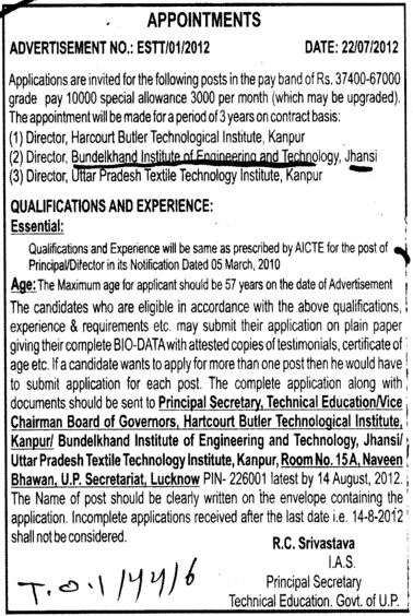 Principal and Director (Bundelkhand Institute of Engineering and Technology)