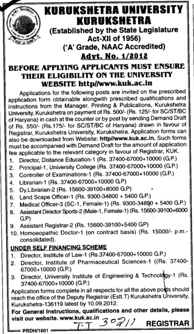 Homoeopathic Doctor, COE, Land Scape Officer and Librarian etc (Kurukshetra University)