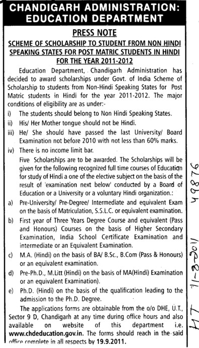 Scheme of Scholarship to Student from Non Hindi Speaking states for Post Matric Students in Hindi (Education Department Chandigarh Administration)