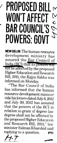Proposed bill wont affect Bar Councils Powers (Bar Council of India (BCI))