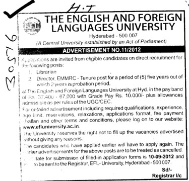 Director and Librarian (English and Foreign Languages University)