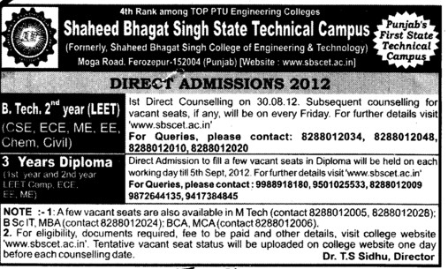 BTech and Diploma Courses (Shaheed Bhagat Singh State (SBBS) Technical Campus)