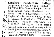 Lecturer and Instructors (Longowal College of Pharmacy and Polytechnic)