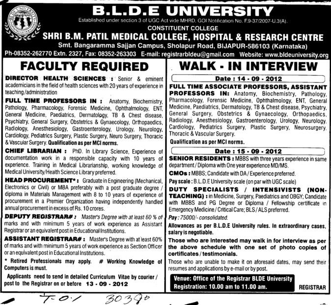 Senior Residents, Asstt Registrar and Chief Librarian etc (BLDEA Shri BM Patil Medical College Hospital and Research Centre)