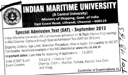 Special Admission Test 2012 (Indian Maritime University)