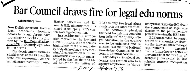 Bar Council draws fire for legal edu norms (Bar Council of India (BCI))
