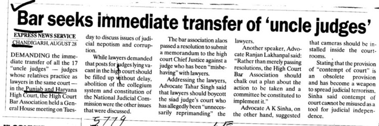 Bar seeks immediate transfer for Uncle judges (Bar Council of Punjab and Haryana)