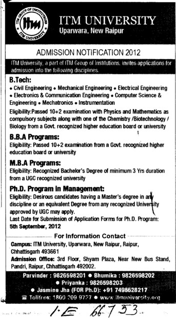 BTech, BBA, MBA and PhD Programmes (ITM University)