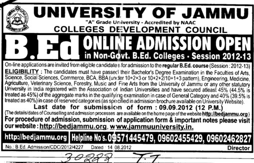 BEd Course 2012 (Jammu University)
