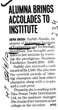 Alumna brings accolades to Institute (Sri Sukhmani Institute of Engineering and Technology)