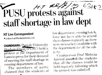 PUSU protests against staff shortage in law dept (Students of Panjab University (SOPU))