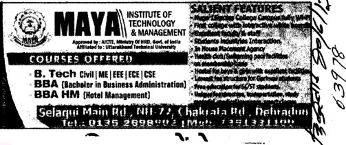 BTech and BBA HM Courses etc (Maya Institute of Technology and Management)