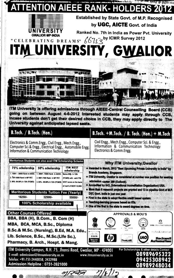 BTech, MTech, B Arch and MCA Courses etc (ITM University)