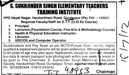 Principal, Lecturer and Librarian etc (Sukhjinder Group of Institutes)