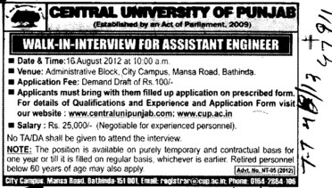 Assistant Engg (Central University of Punjab)