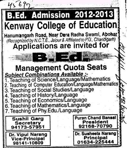 Management quota seats in B Ed (Kenway College of Education)