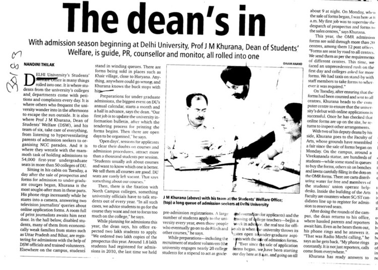 The deans in (Delhi University)