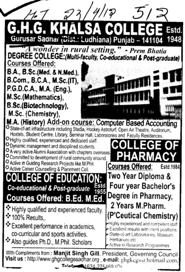 BA, BSc, MSc and MA Courses etc (GHG Khalsa College)