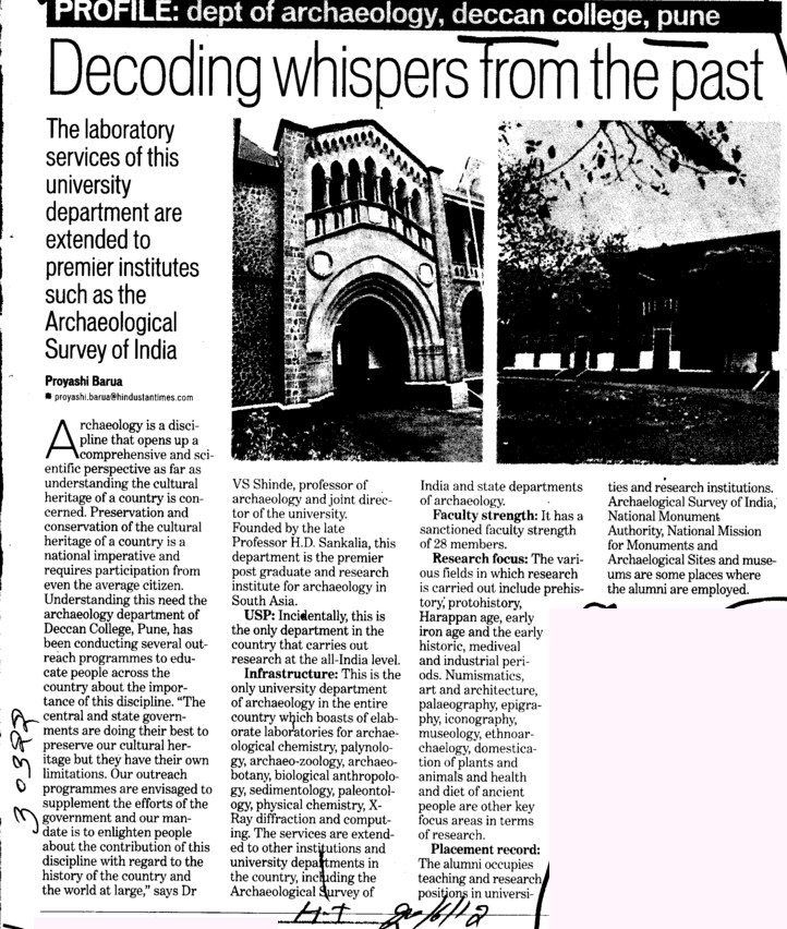 Decoding whispers from the past (Deccan College Postgraduate and Research Institute Deemed University)