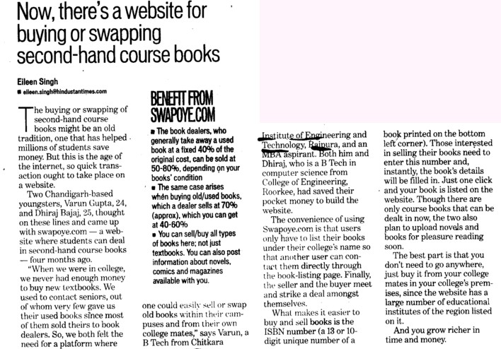Now, there is a website for buying or swapping second hand course books (Chitkara Institute of Engineering and Technology)