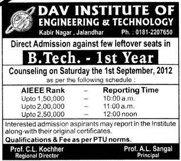 BTech Course 2012 (DAV Institute of Engineering and Technology DAVIET)