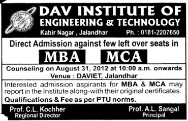 MBA and MCA Courses (DAV Institute of Engineering and Technology DAVIET)
