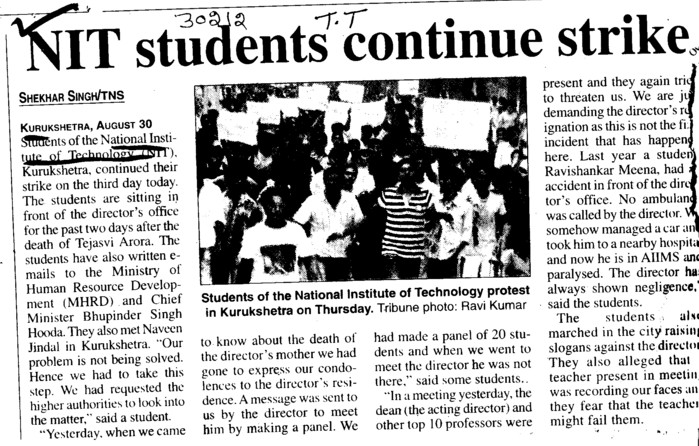 NIT Student continue strike (National Institute of Technology (NIT))