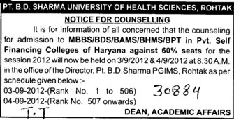 BDS, MBBS, BAMS and BHMS (Pt BD Sharma University of Health Sciences (BDSUHS))