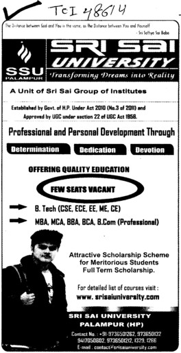 BTech, MBA, MCA, BBA and BCA Courses etc (Sri Sai University)