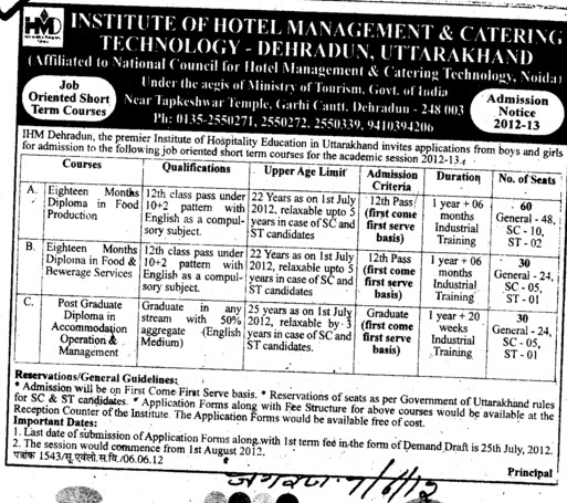 Diploma in Food Production and Bewerage Services etc (Government Institute of Hotel Management (GIHM) and Catering Technology and Applied Nutrition)