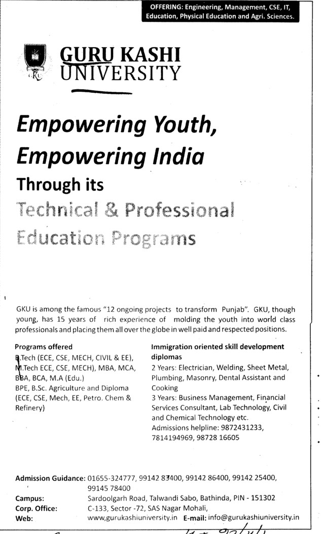 Empowering youth, Empowering India (Guru Kashi University)
