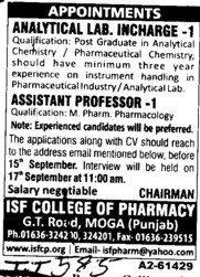 Analytical Lab Incharge and Asstt Professor (ISF College of Pharmacy)