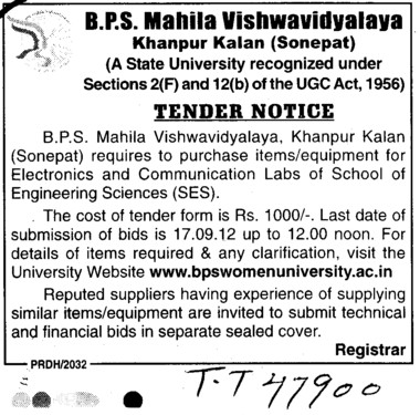 Purchase Items and Equipment for SES (BPS Mahila Vishwavidyalaya Khanpur Kalan)