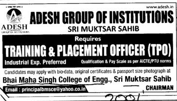 Training and Placement Officer (Adesh Group of Institutions)