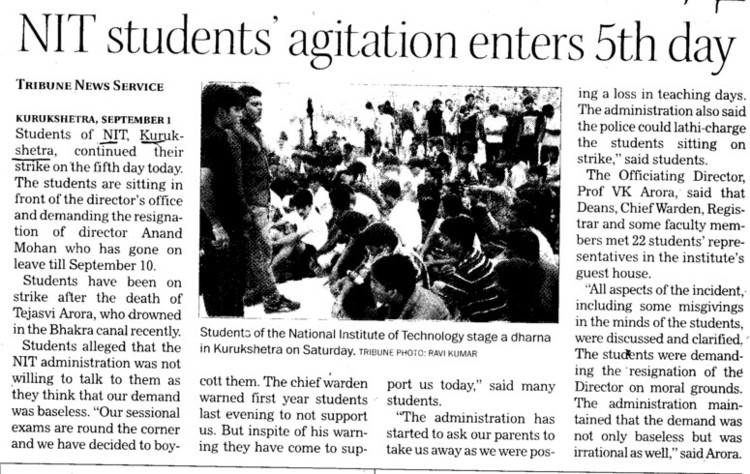 NIT students agitation enters 5 th day (National Institute of Technology (NIT))
