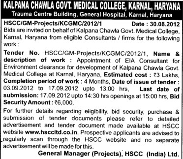 Technical Bid and Financial Bid (Kalpana Chawla Medical College)