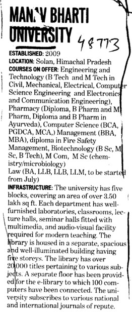 Btech and MTech Courses (Manav Bharti University)