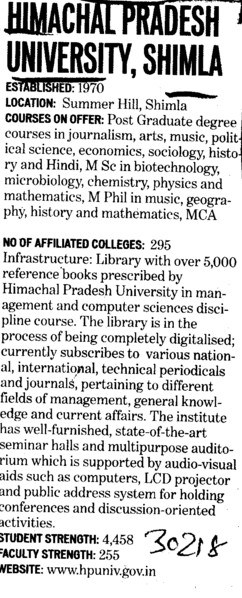 UG and PG Courses (Himachal Pradesh University)